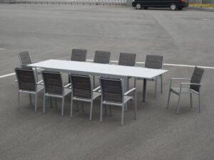 שולחן לגינה דגם ננסי 2 מטר נפתח ל 3.20 + 6 כסאות