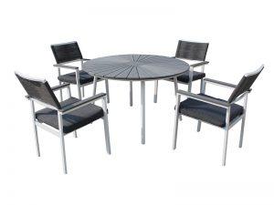 שולחן לגינה דגם קיאנו קוטר 1.20 + 4 כסאות