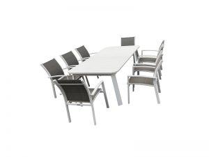 שולחן דגם סנטוריני + 6 כסאות